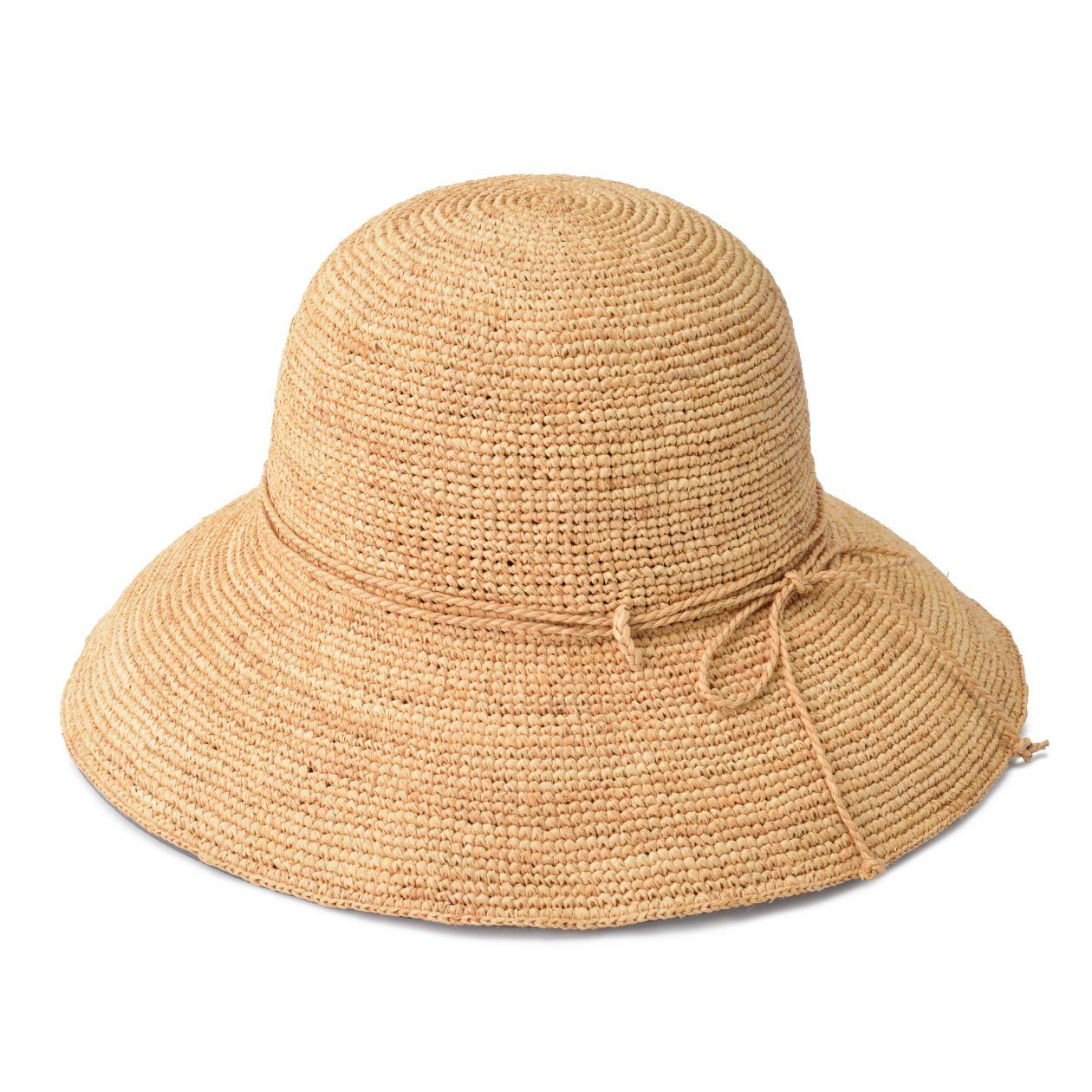 ラフィア つば広帽子