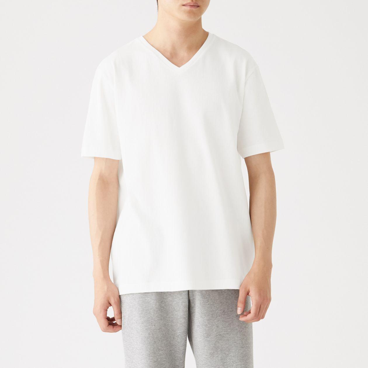 脇に縫い目がない 厚手天竺編みVネック半袖Tシャツ・2枚組