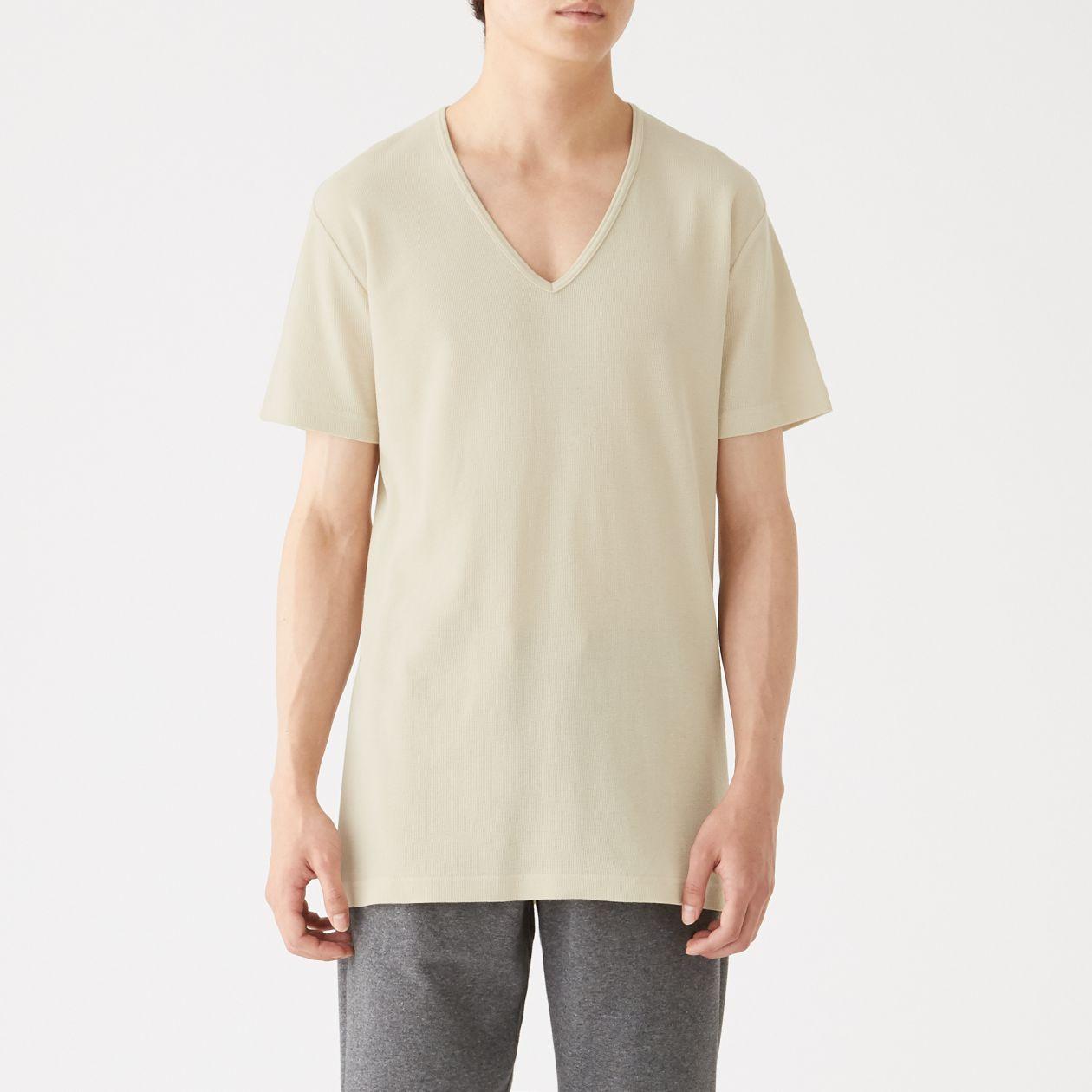 綿でさらっとVネック半袖Tシャツ
