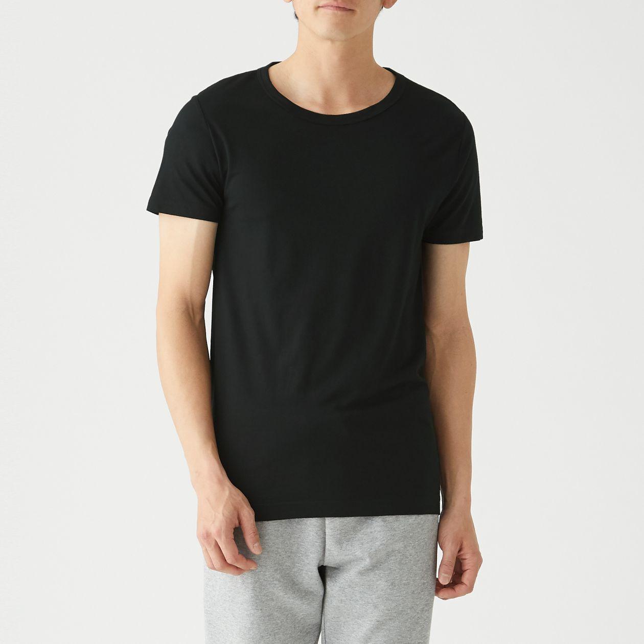 洗えるウールクルーネック半袖Tシャツ