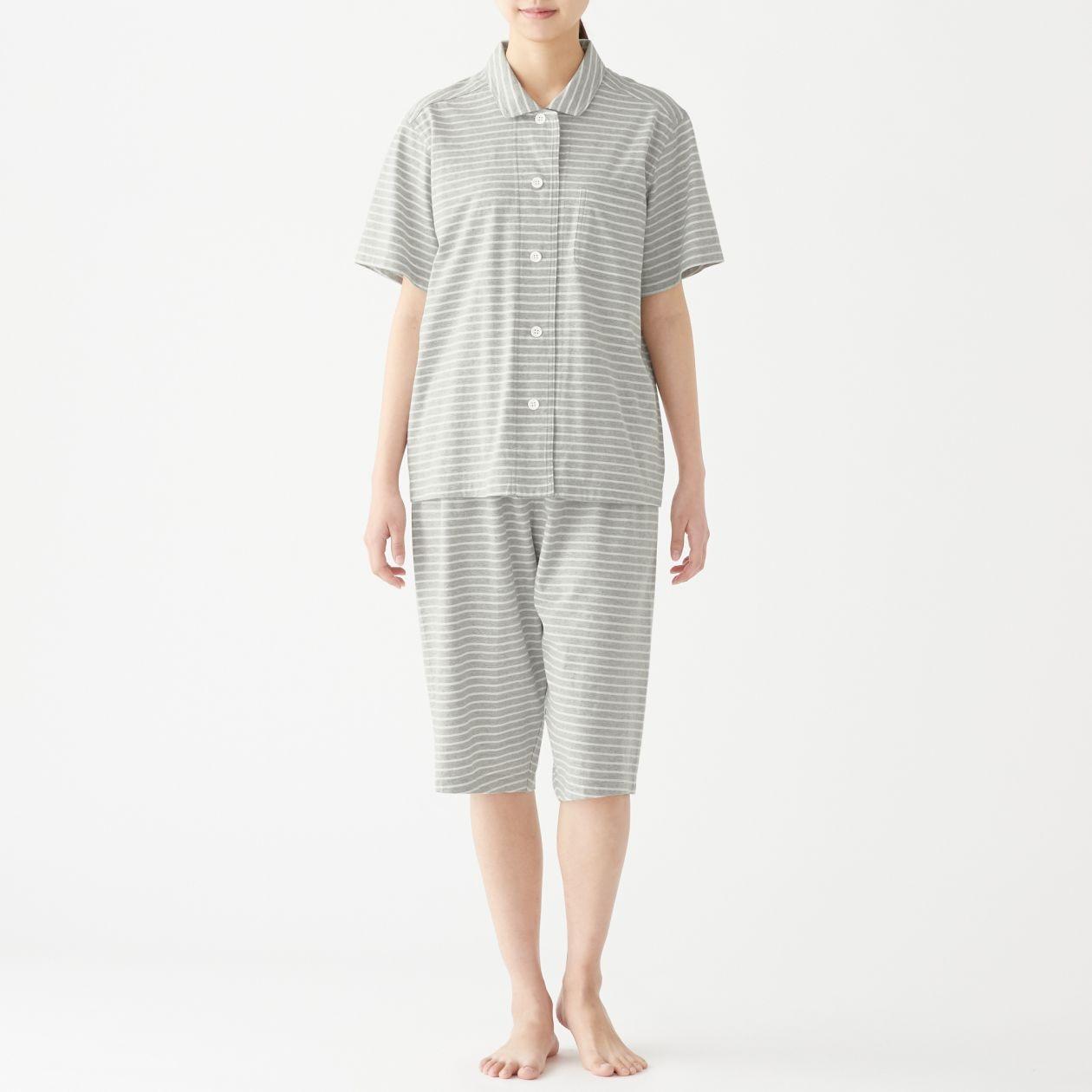 脇に縫い目のない 天竺編み半袖パジャマ