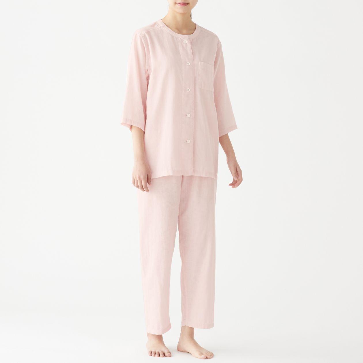 脇に縫い目のない 細番手二重ガーゼ七分袖パジャマ