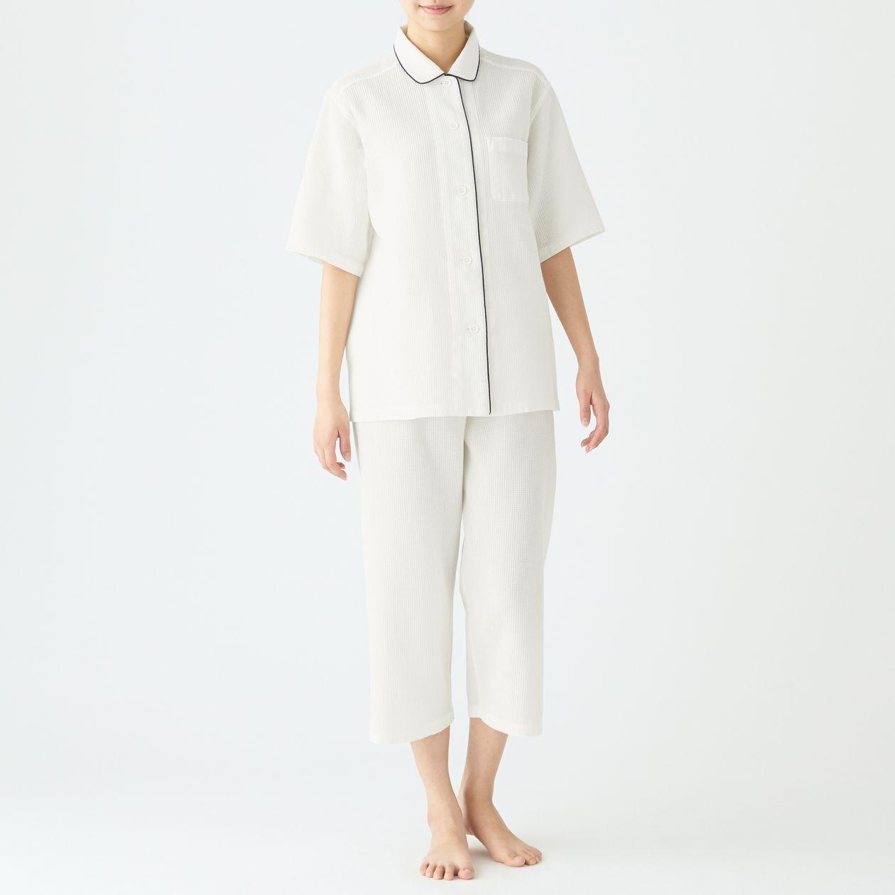 脇に縫い目のない ワッフル織り半袖パジャマ