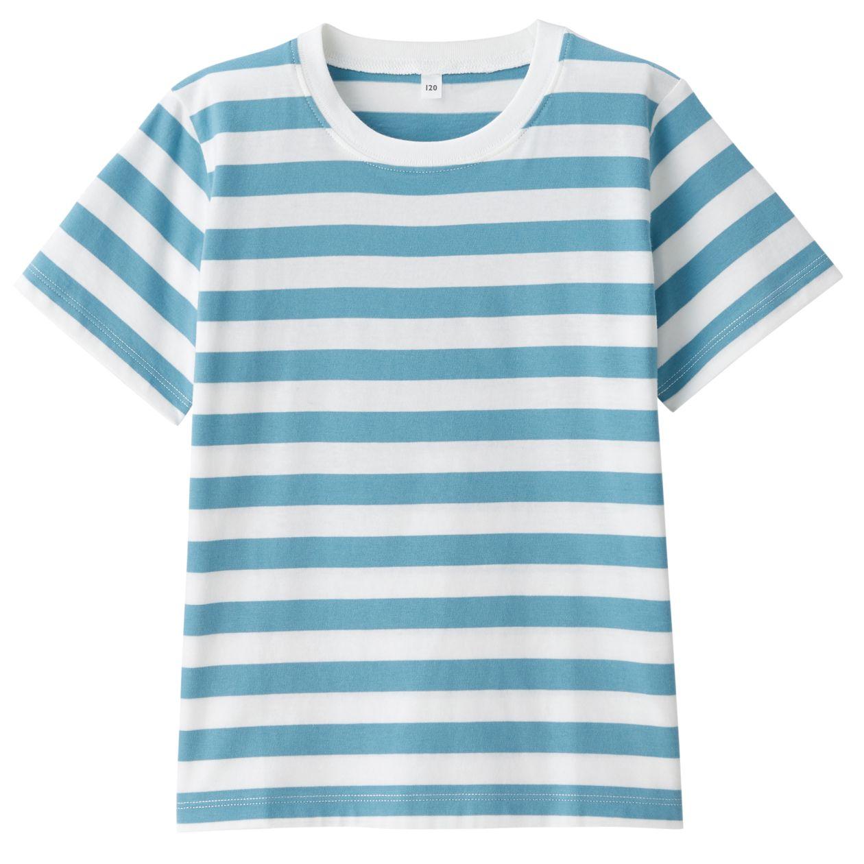 インド綿天竺編みボーダー半袖Tシャツ(キッズ)