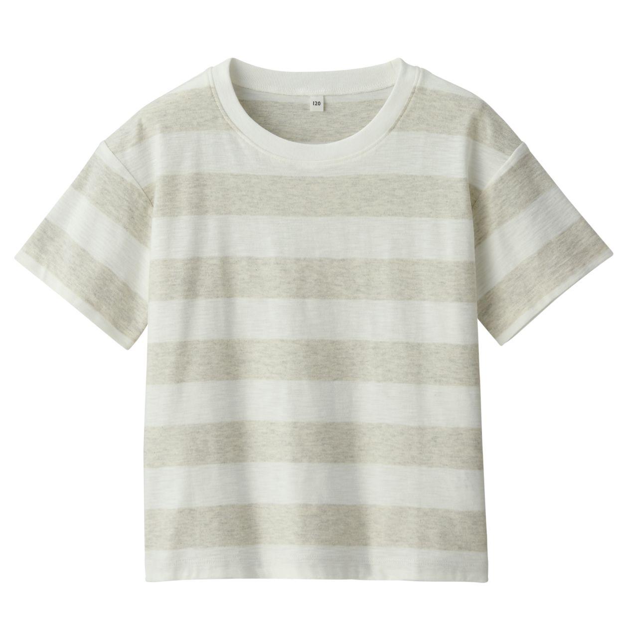 ムラ糸天竺編みボーダー半袖ワイドTシャツ(キッズ)