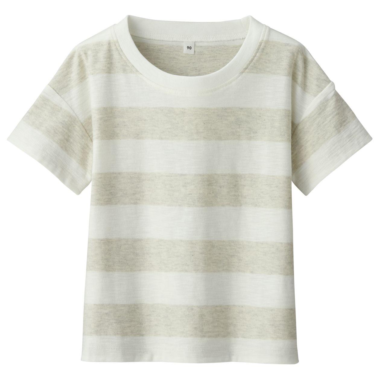ムラ糸天竺編みボーダー半袖ワイドTシャツ(ベビー)