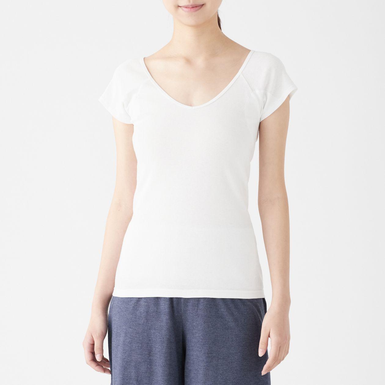 綿でさらっと汗取りパッド付きフレンチスリーブTシャツ