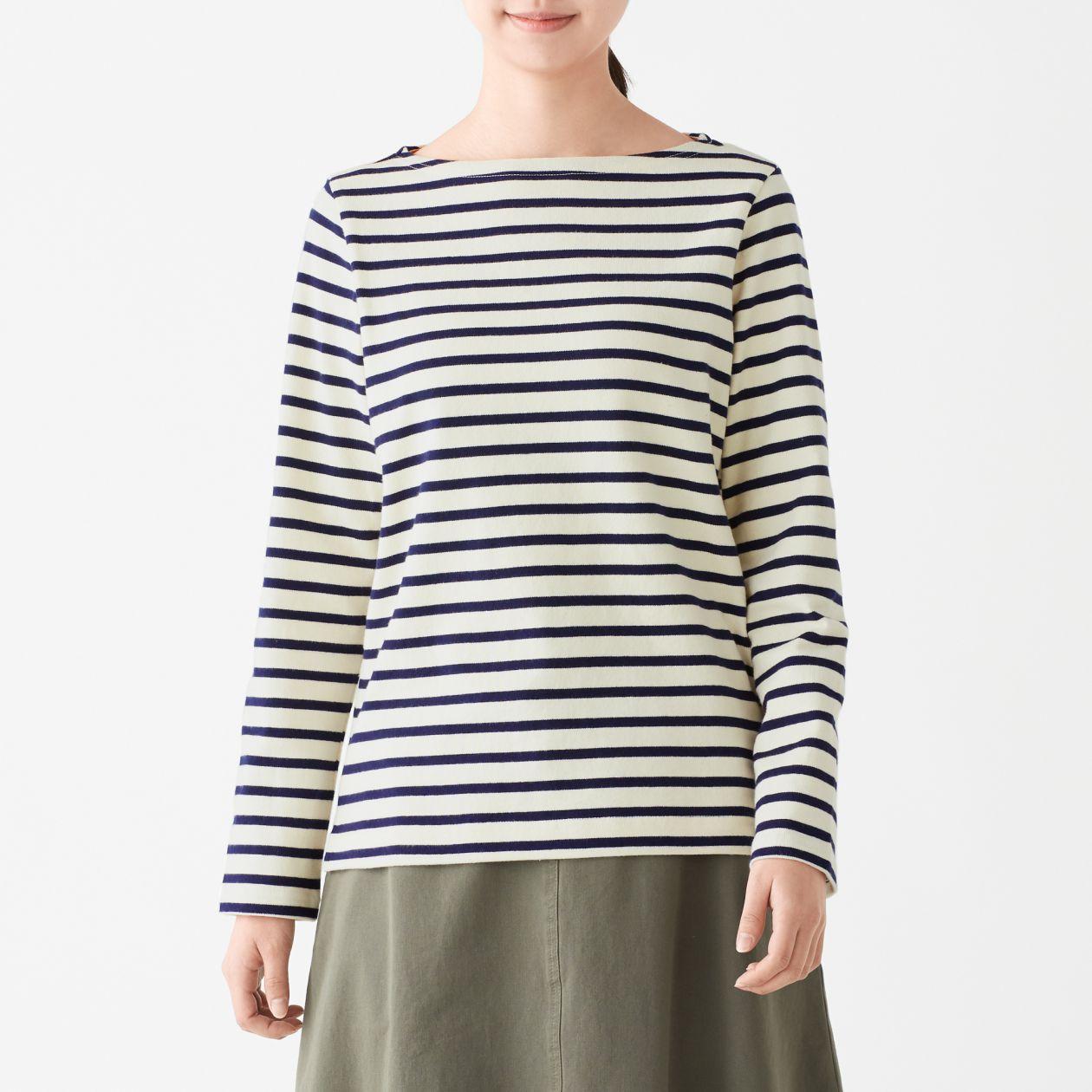 太番手天竺編み長袖Tシャツ(ボーダー)