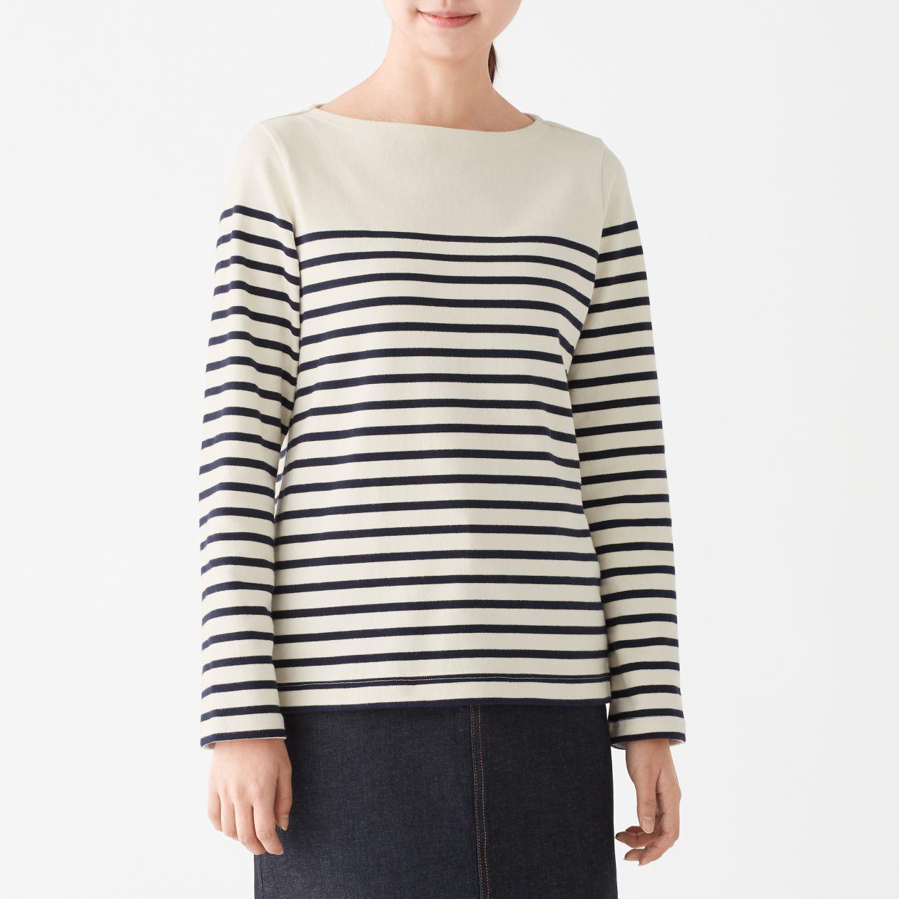太番手天竺編み長袖Tシャツ(パネルボーダー)