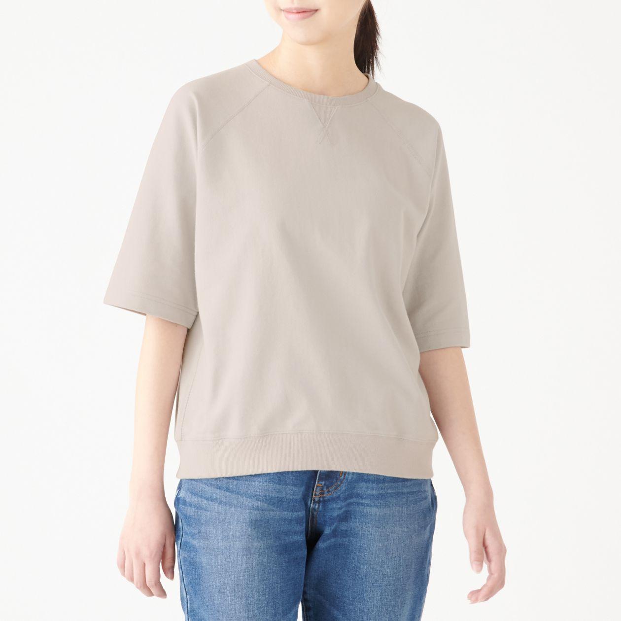 ミニ裏毛ワイドTシャツ(五分袖)
