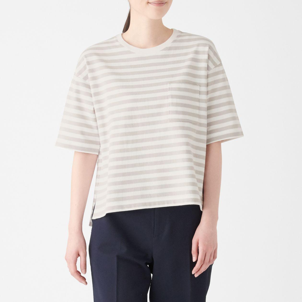 太番手天竺編みクルーネックワイドTシャツ(五分袖)
