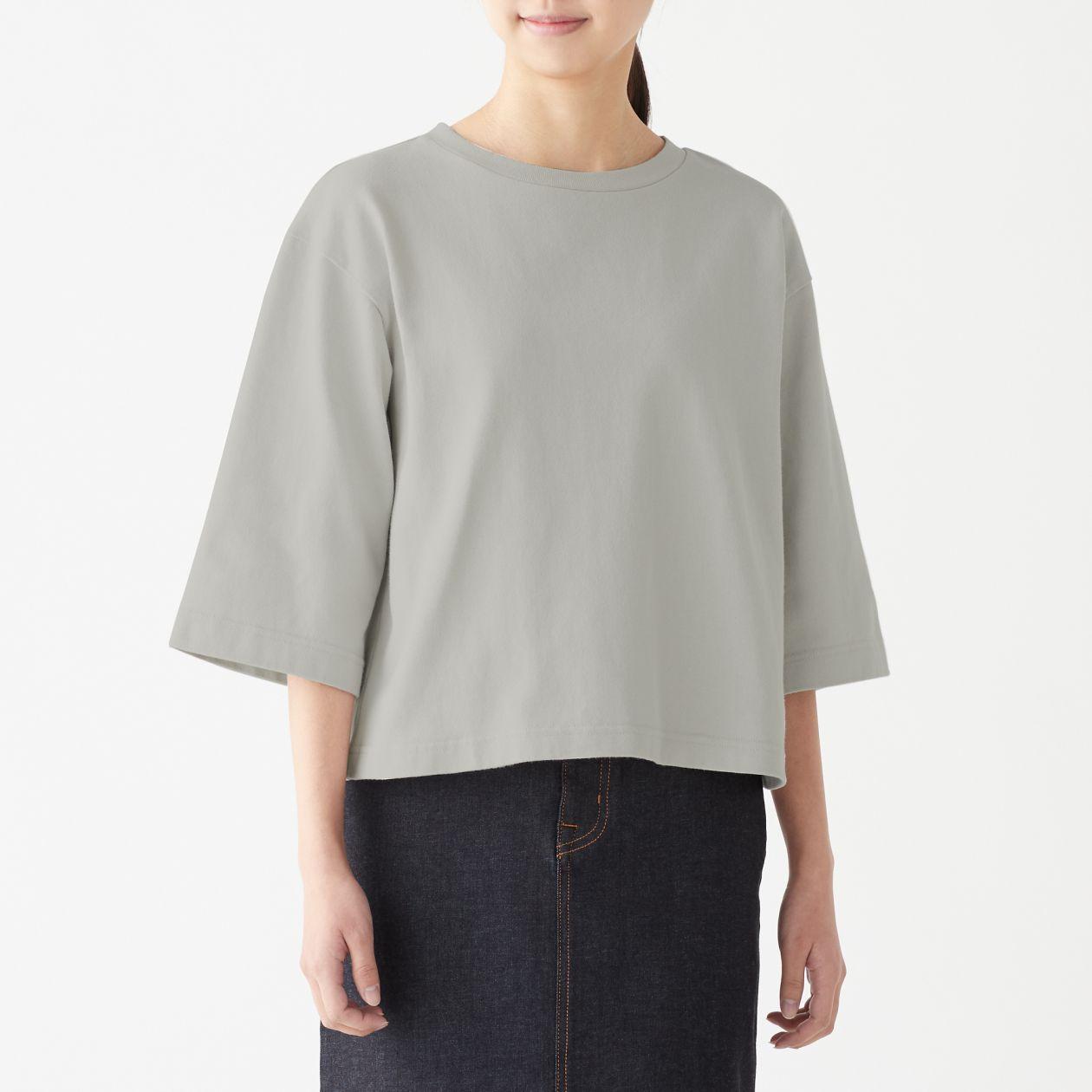 太番手天竺編みワイドスリーブTシャツ(七分袖)