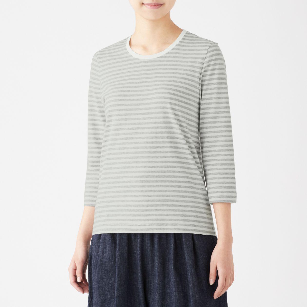 インド綿天竺編み七分袖Tシャツ