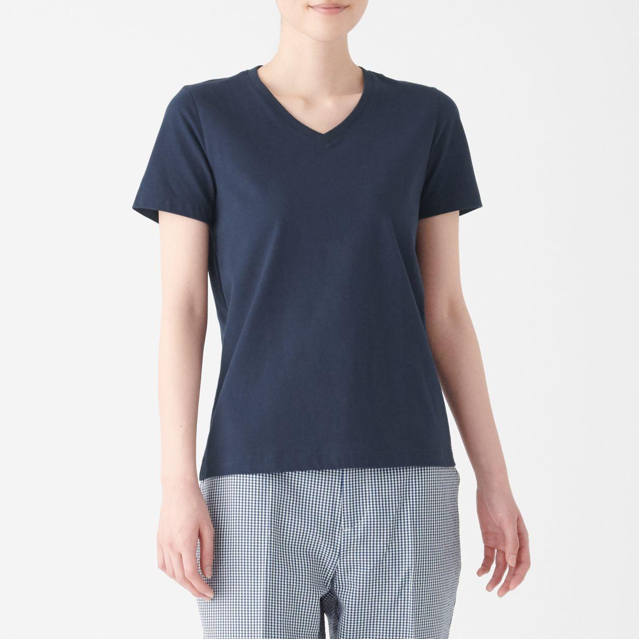 インド綿天竺編みVネック半袖Tシャツ