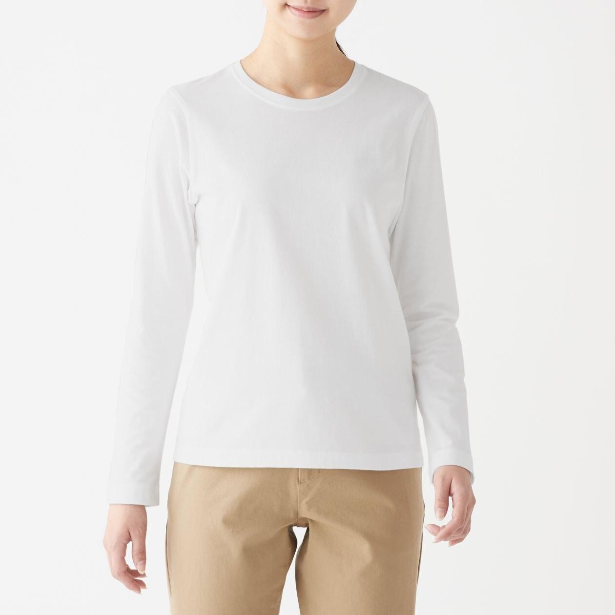 インド綿天竺編みクルーネック長袖Tシャツ(白)