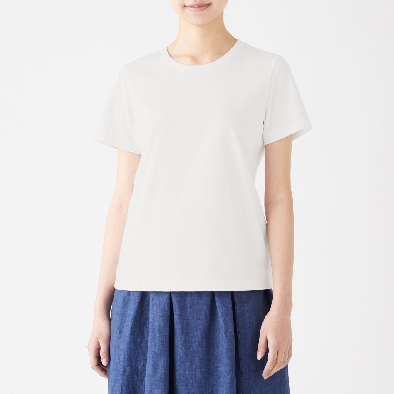 インド綿天竺編みクルーネック半袖Tシャツ(白)