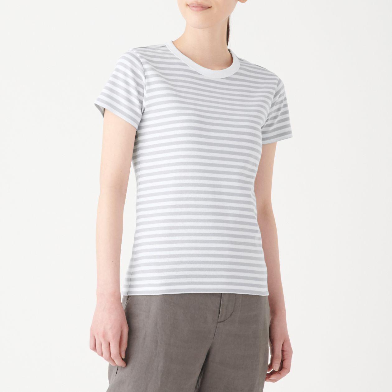 汗じみしにくいフライス編みクルーネック半袖Tシャツ(ボーダー)