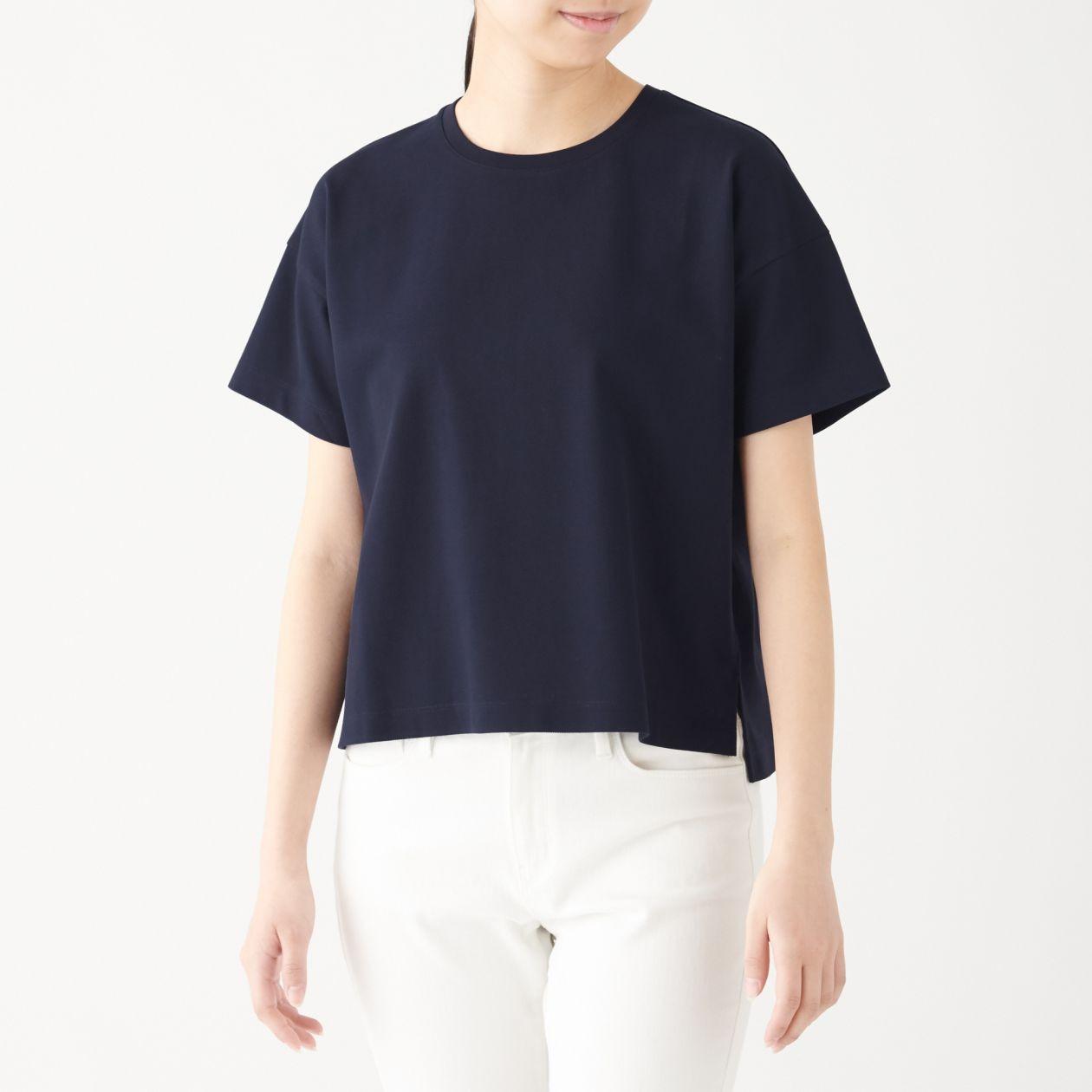 新疆綿鹿の子編みクルーネック半袖Tシャツ