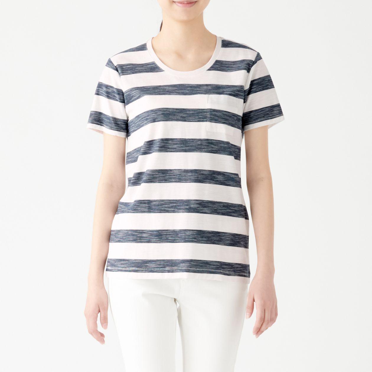 ムラ糸天竺編みクルーネック半袖Tシャツ(ボーダー)
