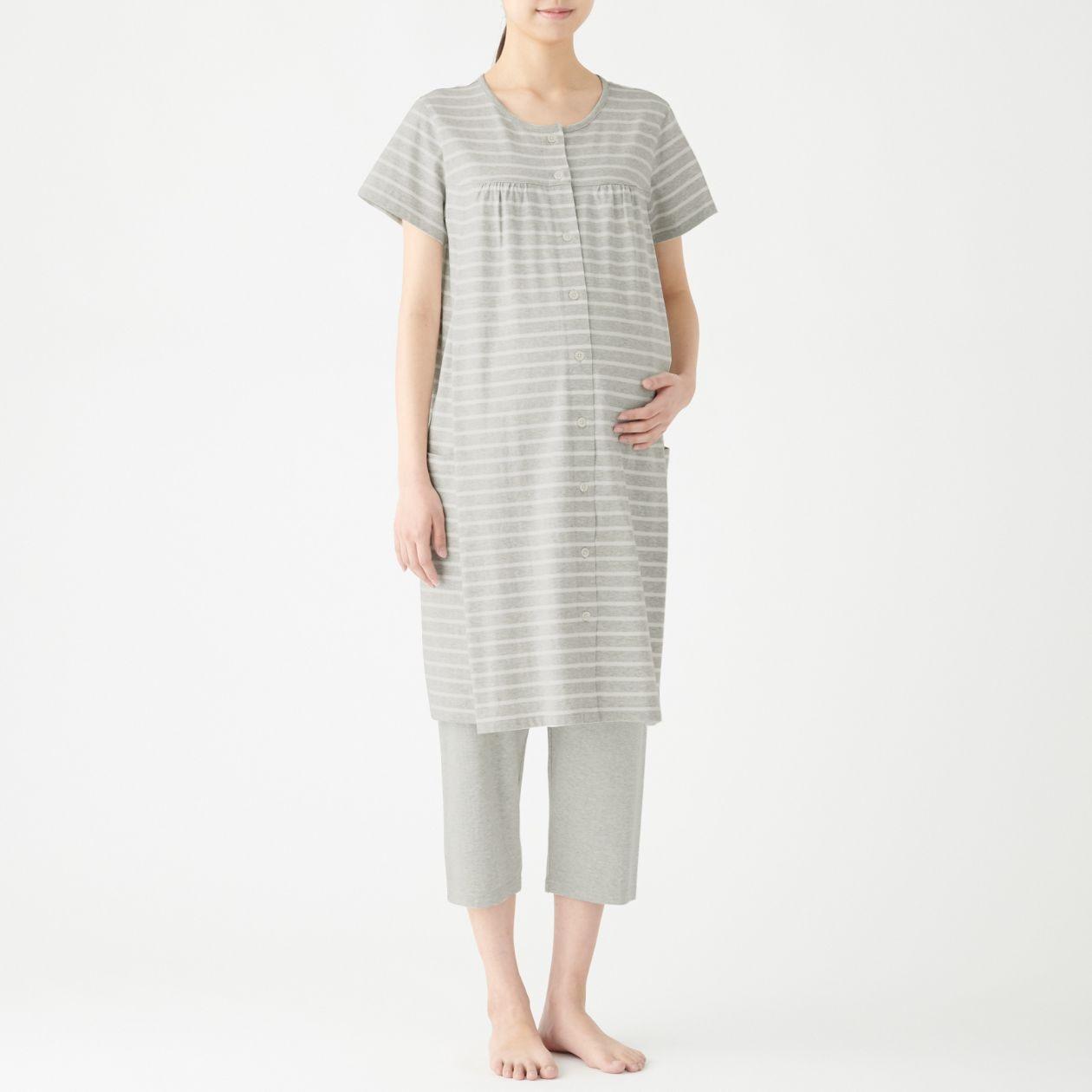脇に縫い目のない天竺授乳に便利な半袖パジャマ・八分丈