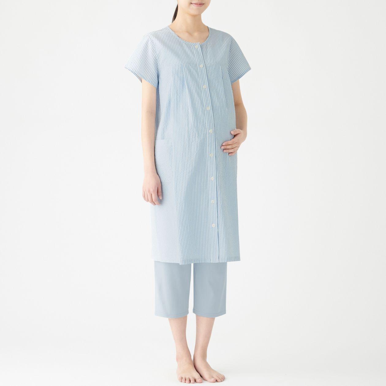 脇に縫い目のないサッカー授乳に便利な半袖パジャマ・八分丈