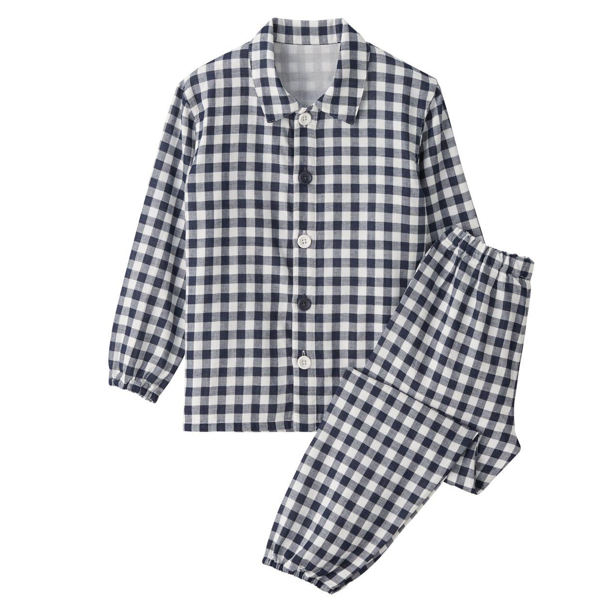 脇に縫い目のない二重ガーゼお着替えパジャマ(キッズ)