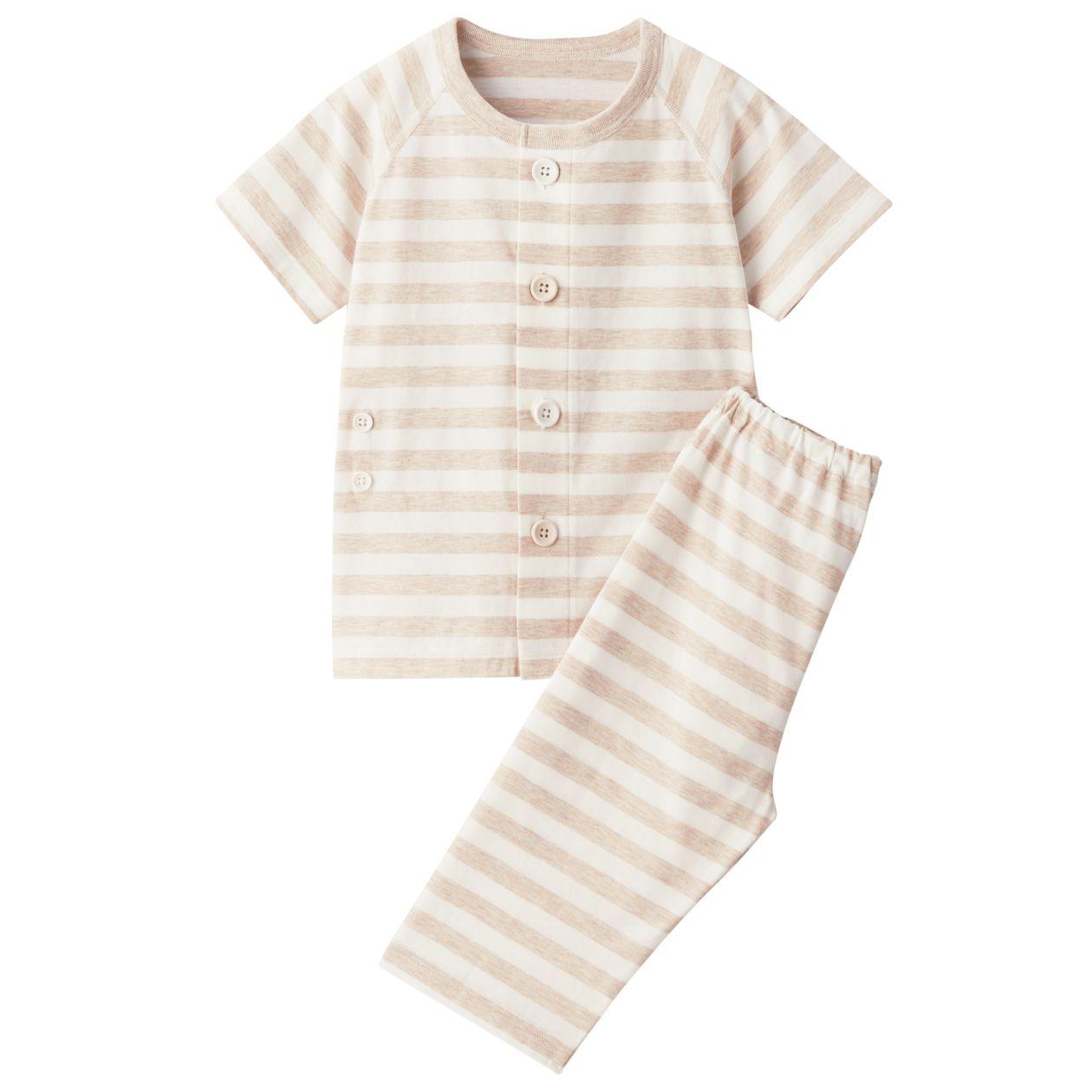 脇に縫い目のない天竺編みお着替え半袖パジャマ(七分丈)・(ベビー)