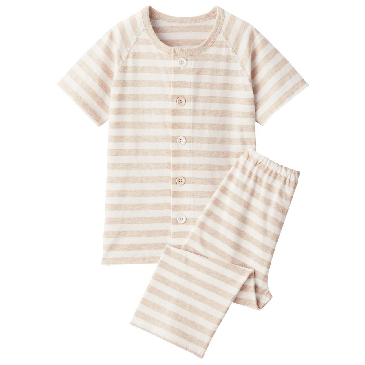 脇に縫い目のない天竺編みお着替え半袖パジャマ(七分丈)・(キッズ)
