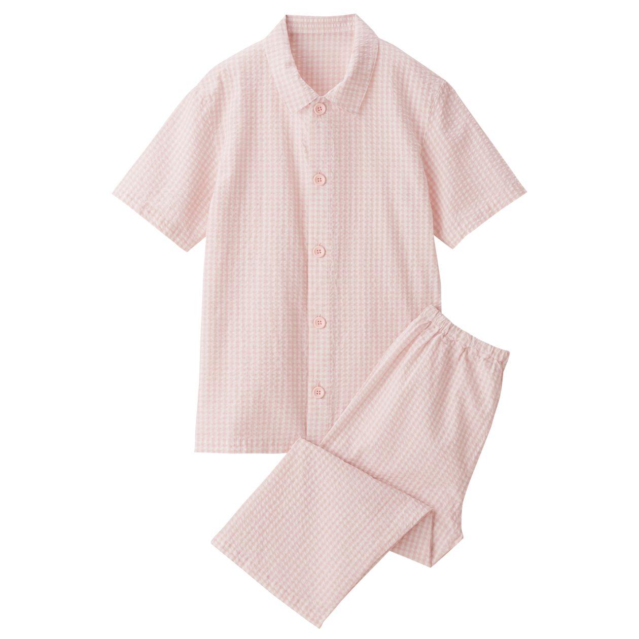 脇に縫い目のないサッカー半袖パジャマ(七分丈)・(キッズ)