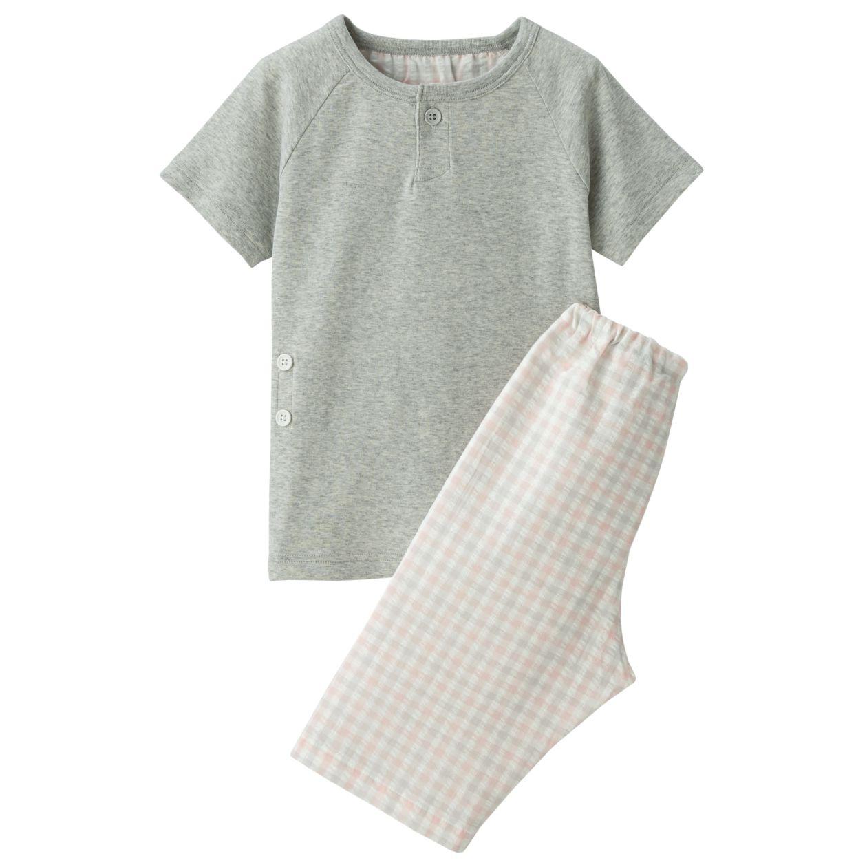 脇に縫い目のないフライス編み半袖パジャマ(七分丈)・(ベビー)