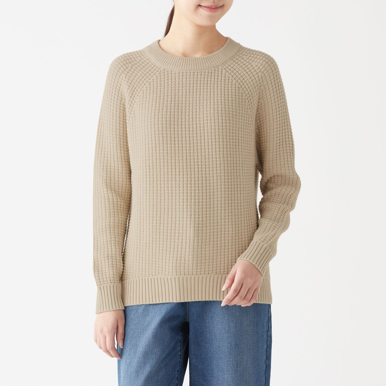 リンクス編みクルーネックセーター