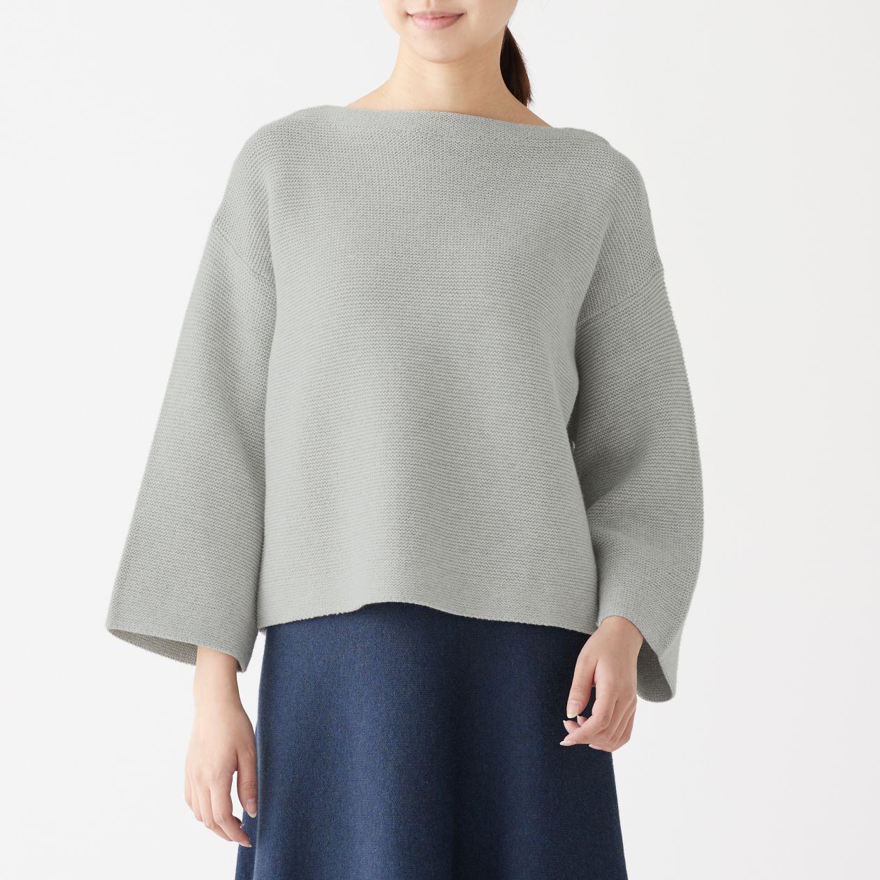 ガーター編みボートネックセーター
