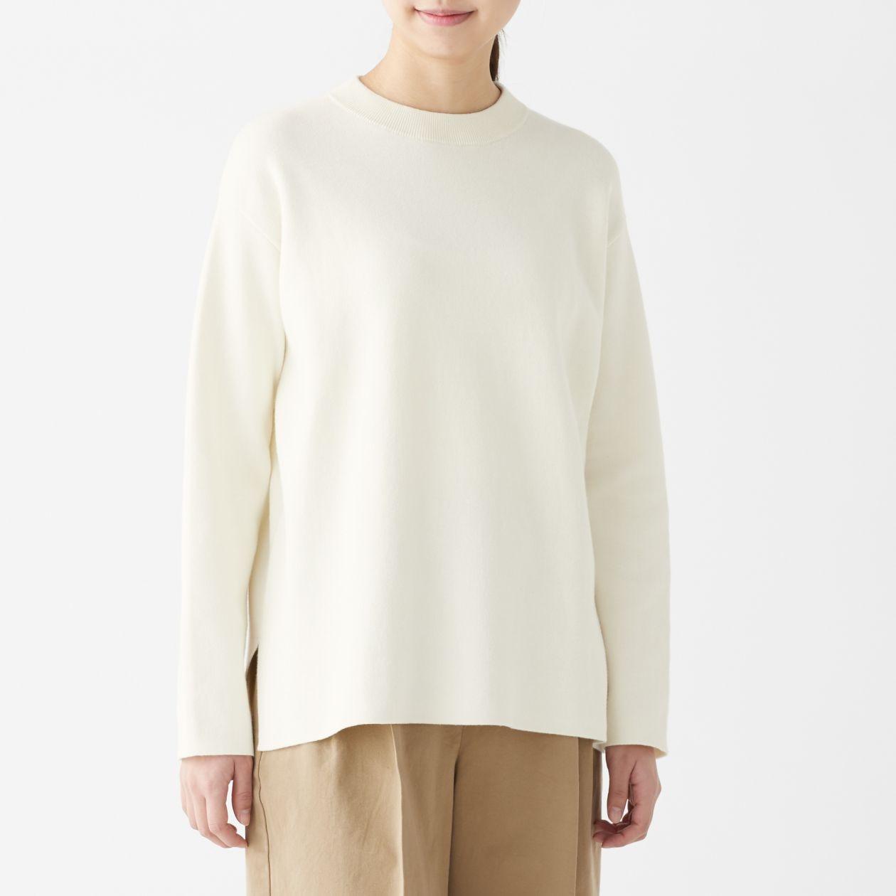 ダブルフェイスクルーネックセーター