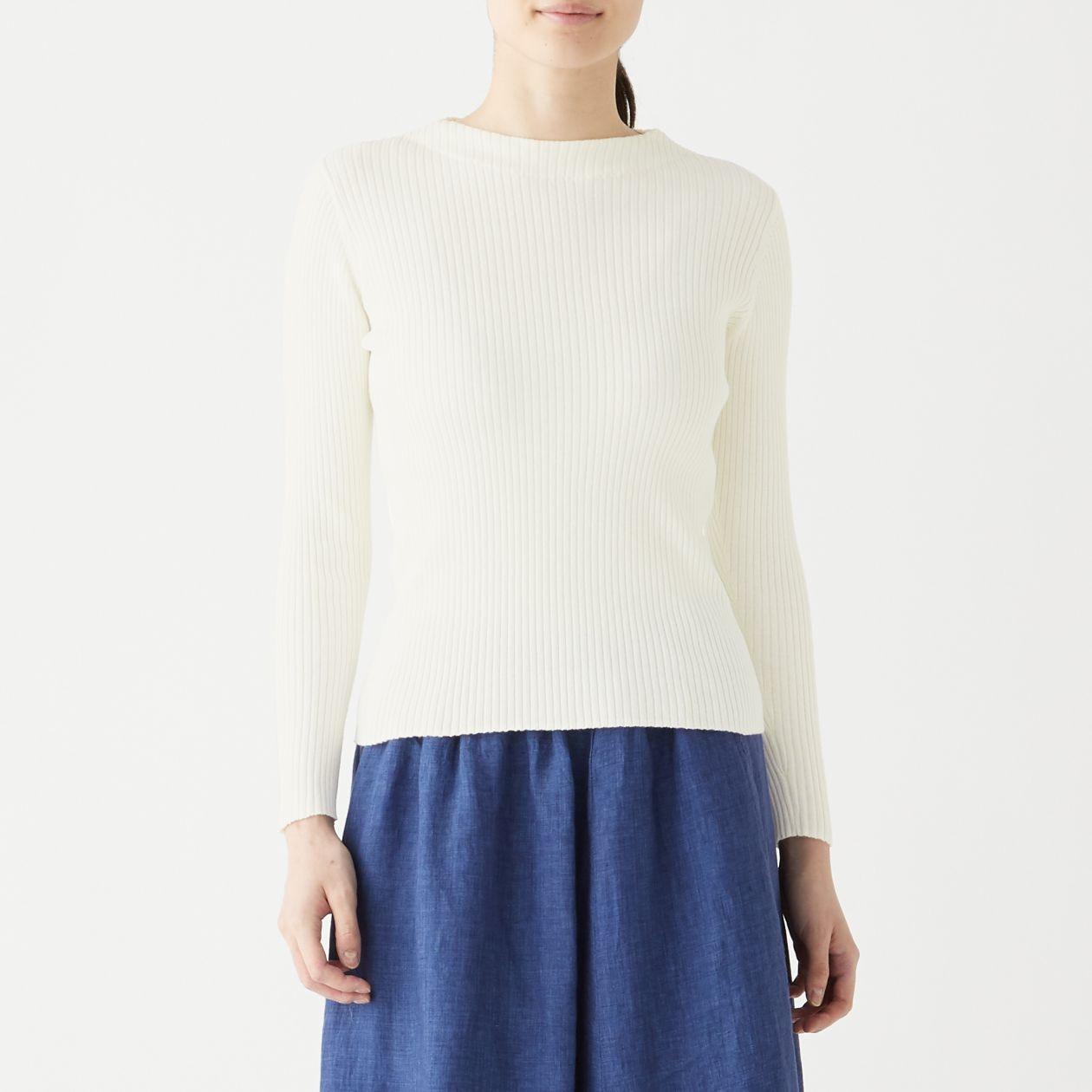 コットンシルクリブ編みモックネックセーター