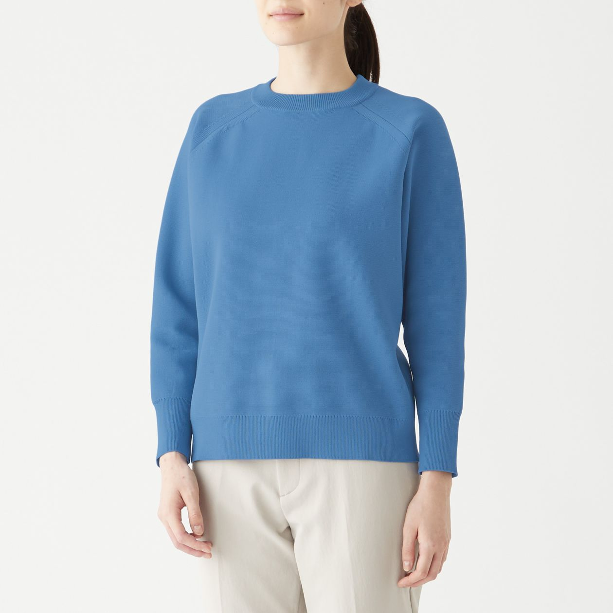 ミラノリブ編みクルーネックセーター