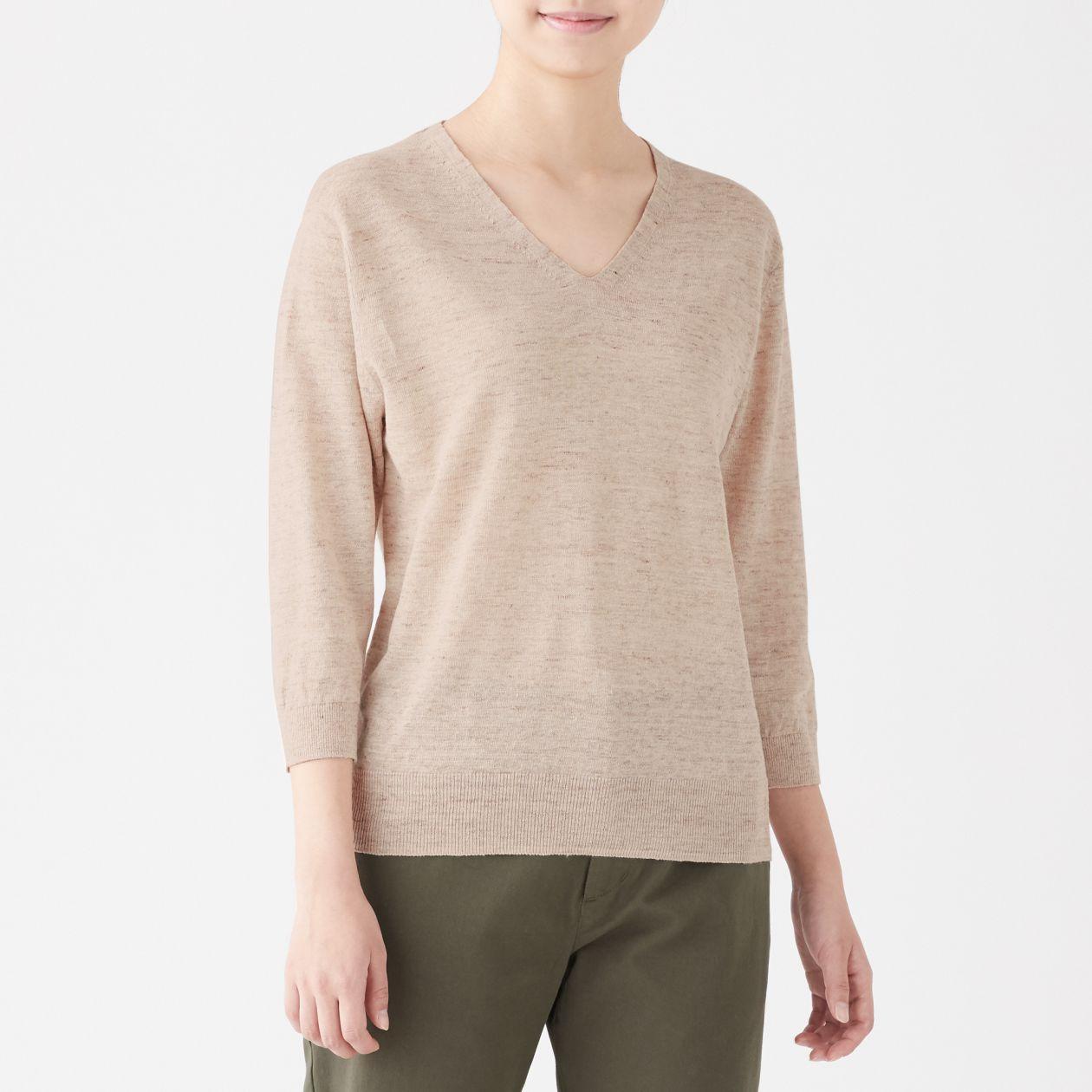 UVカットフレンチリネンVネックセーター
