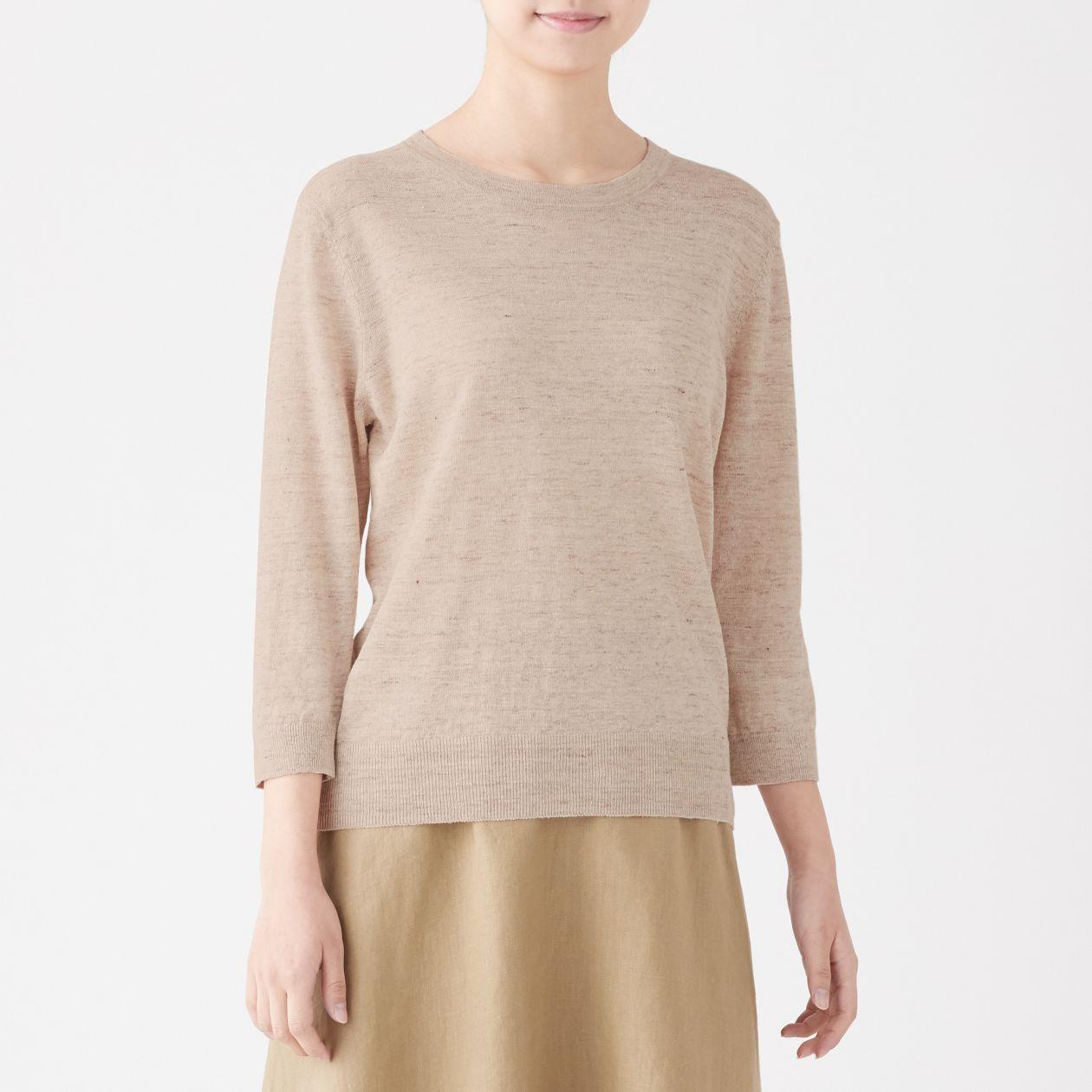 UVカットフレンチリネンラウンドネックセーター