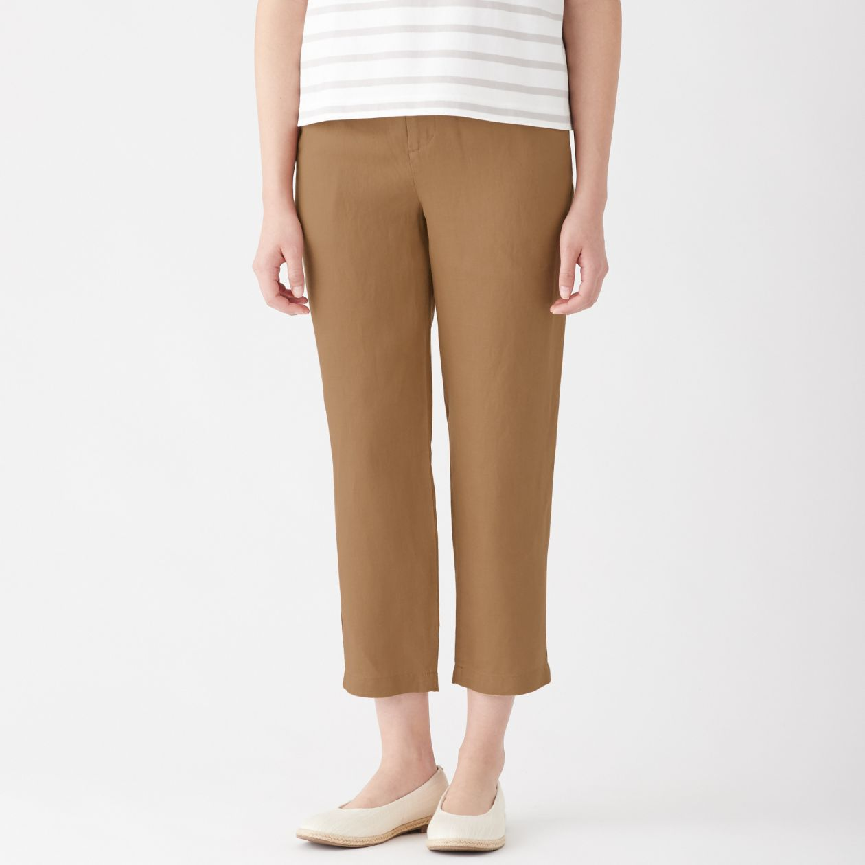 9a77c13b4393 FRENCH LINEN EASY TAPERED CROPPED TROUSERS NEW