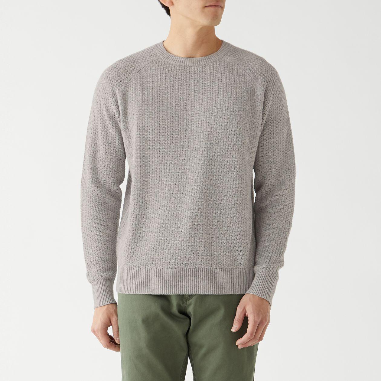 鹿の子編みクルーネックセーター
