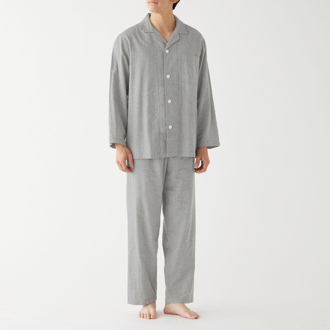 脇に縫い目のない 二重ガーゼパジャマ