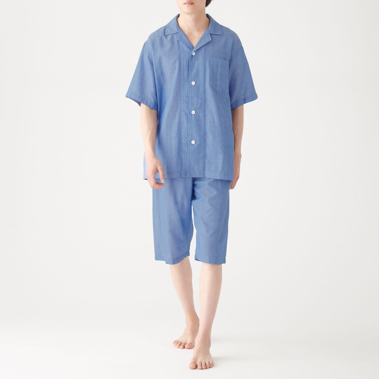 脇に縫い目のない 細番手二重ガーゼ半袖パジャマ