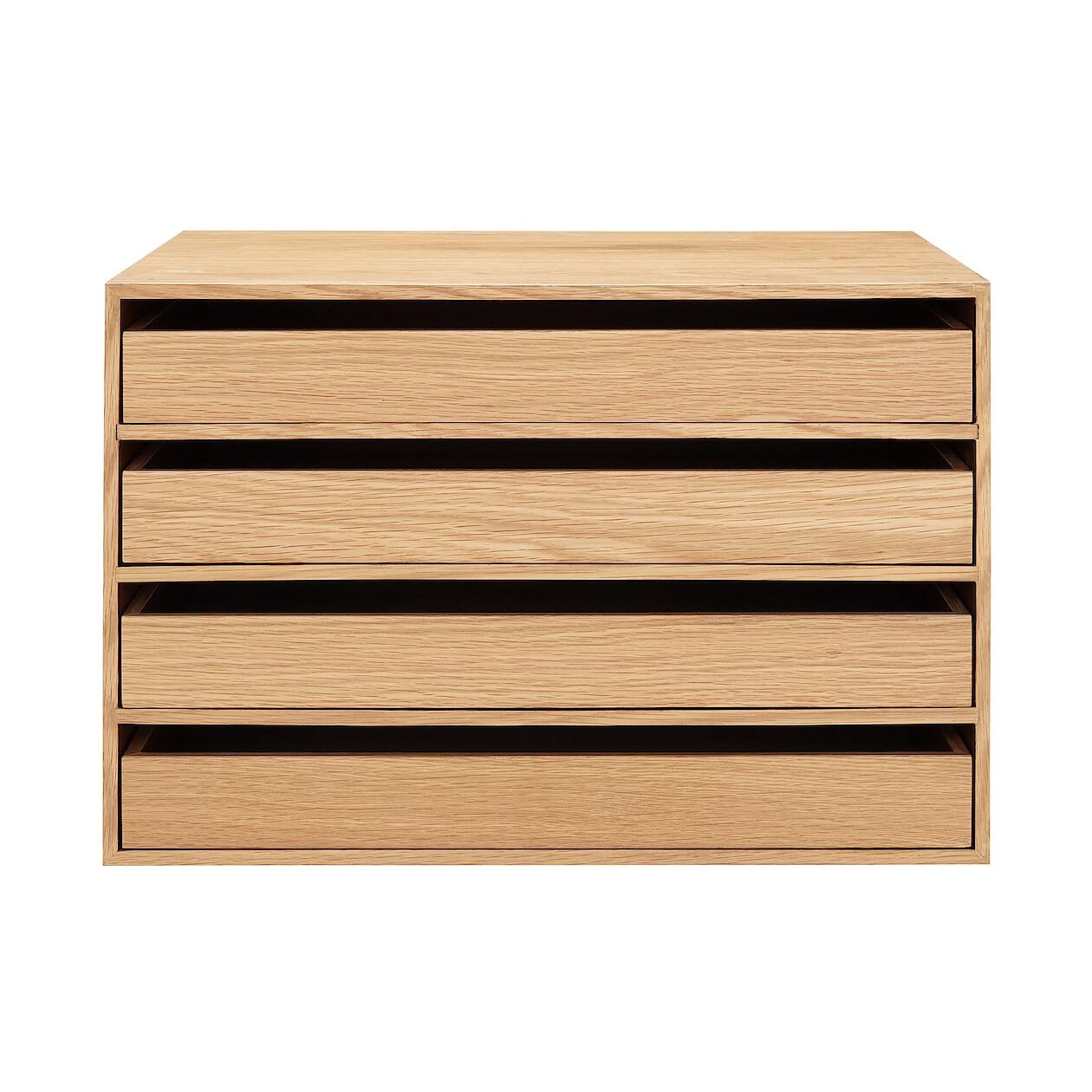 木製収納ケース・引出式・4段・ワイド・オーク材