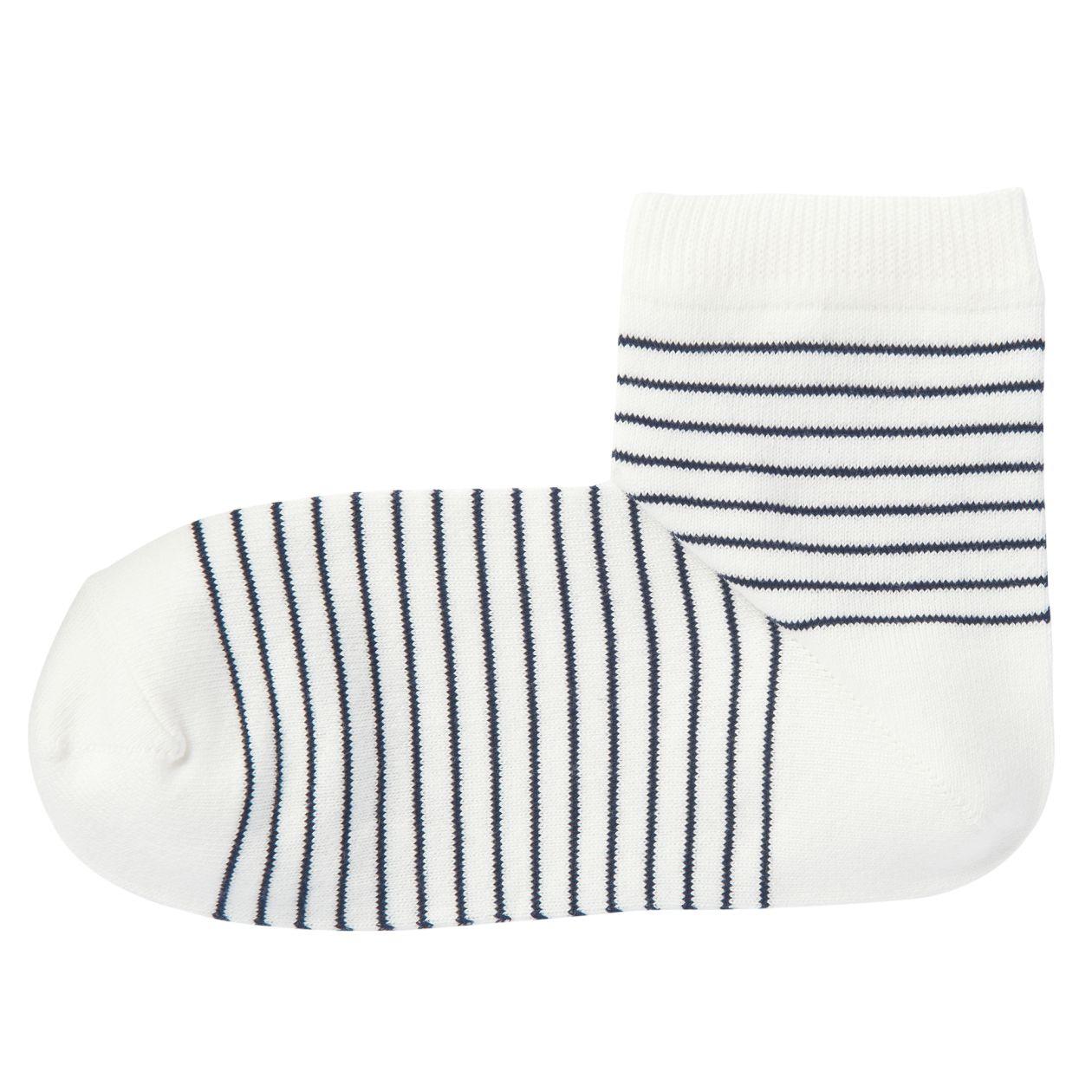 足なり直角 口ゴムなし ショート丈靴下(ボーダー/婦人・えらべる)