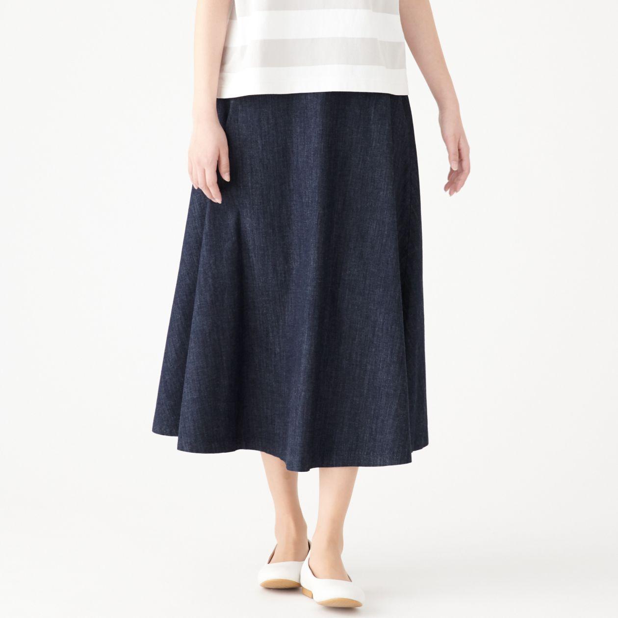 ストレッチライトオンスデニムイージーマキシフレアースカート