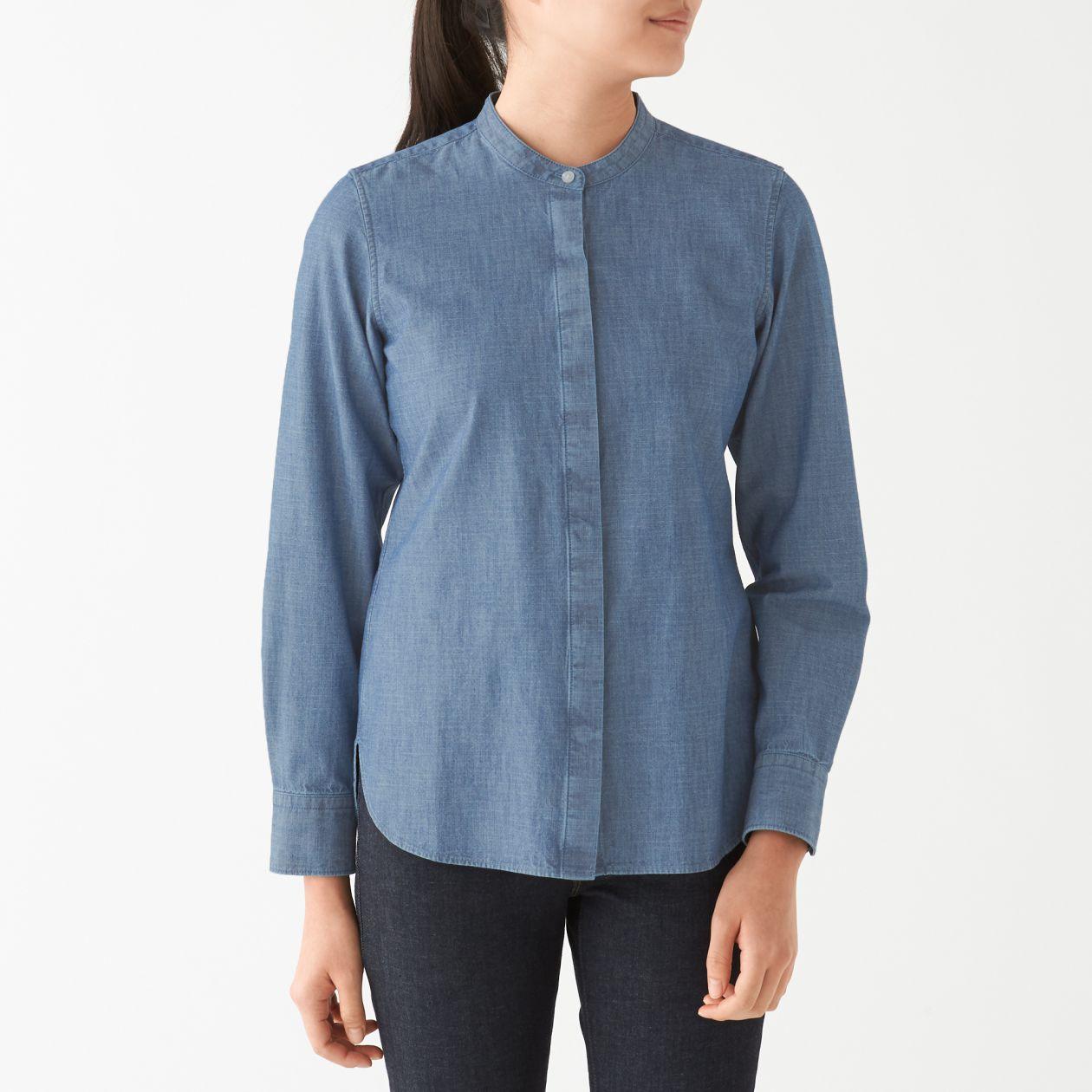 インド綿シャンブレー比翼スタンドカラーシャツ