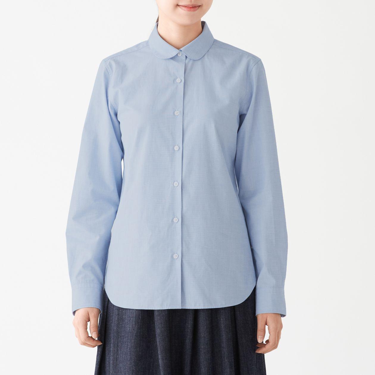 新疆綿ブロード丸襟シャツ