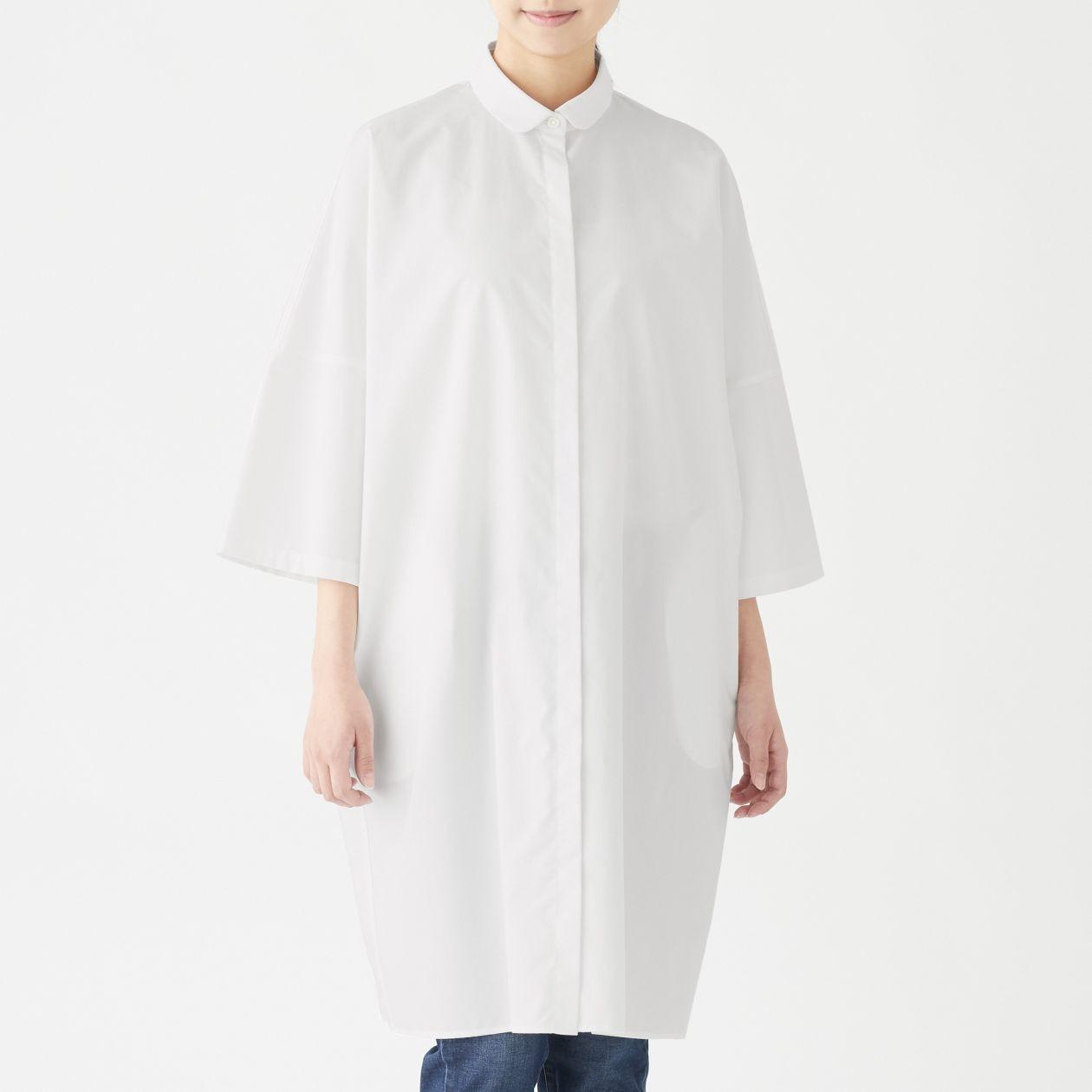 新疆綿ブロード比翼シャツワンピース