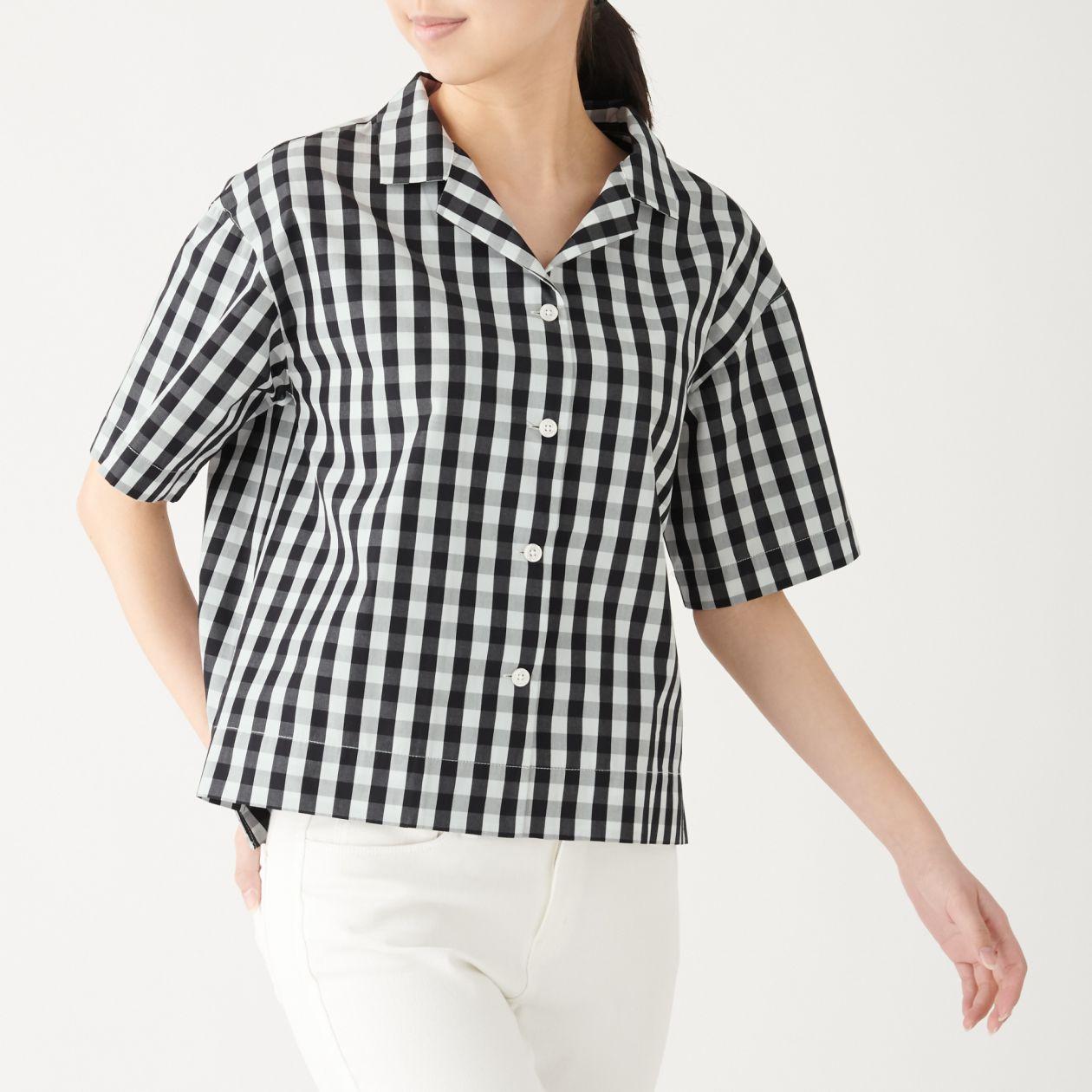 新疆綿ブロードギンガムチェック半袖開襟シャツ