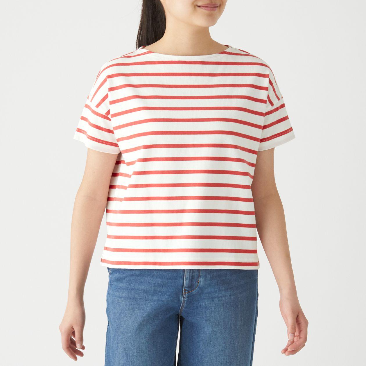 太番手天竺編みボートネックワイドTシャツ(半袖) 婦人XS~S・白×スモーキーオレンジ