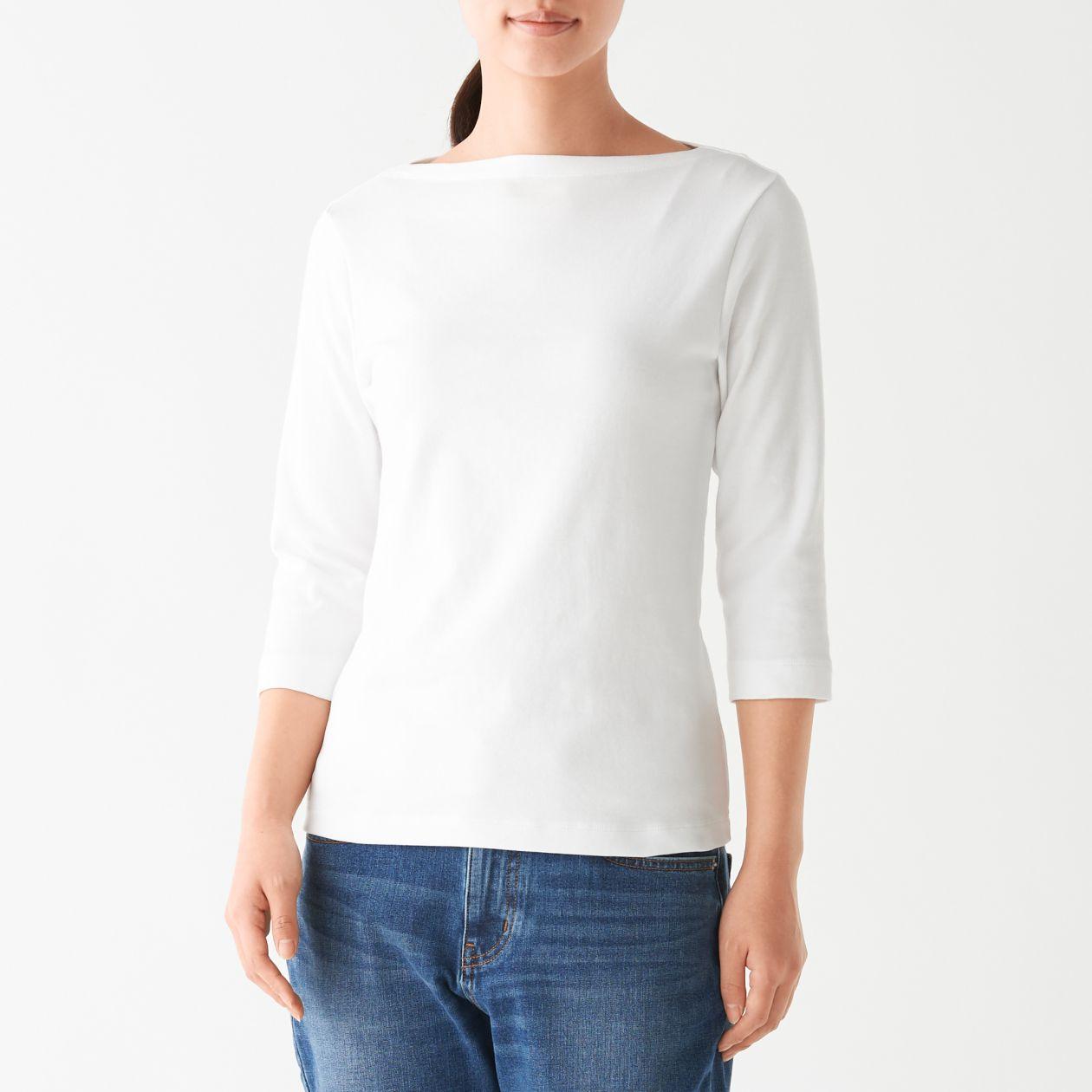 ストレッチフライス編みボートネック七分袖Tシャツ